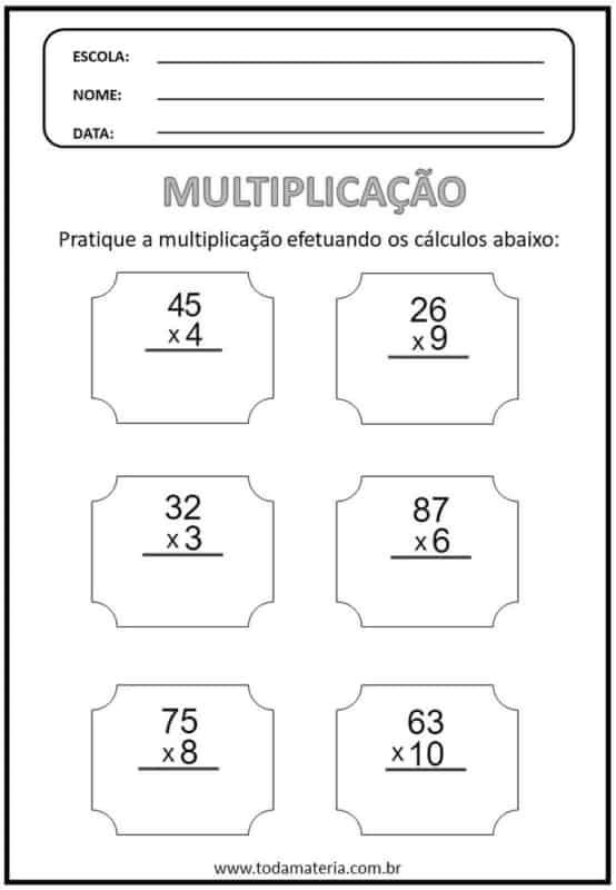 atividade de multiplicacao para 4° ano