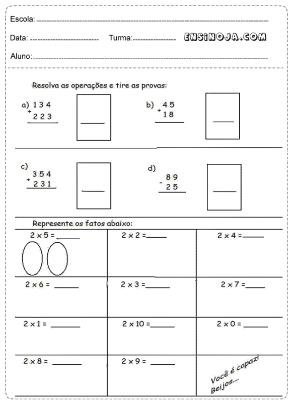 exercicios de matematica com contas para 4° ano