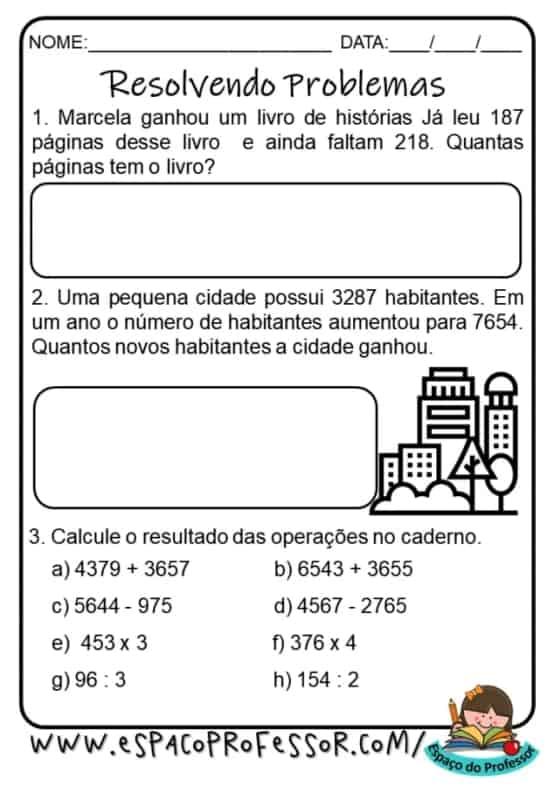problemas de matematica para resolver 4° ano
