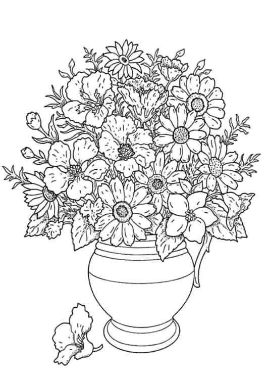 vaso com flores e girassol para pintar