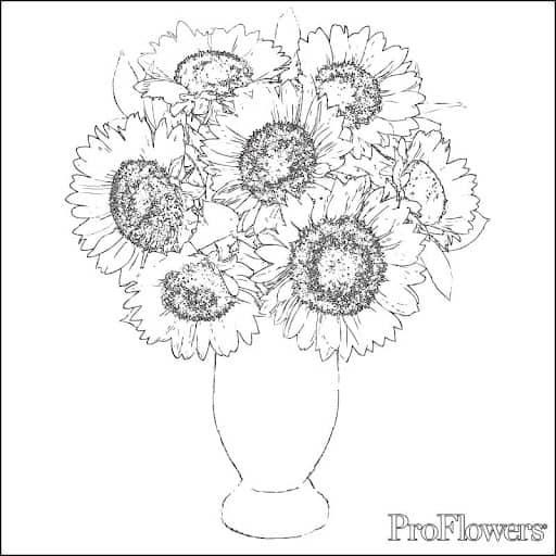 vaso com flores de girassol para pintar