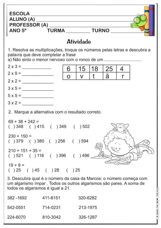 atividade de matematica para 5° ano