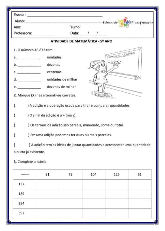 exercicios de matematica para 5° ano
