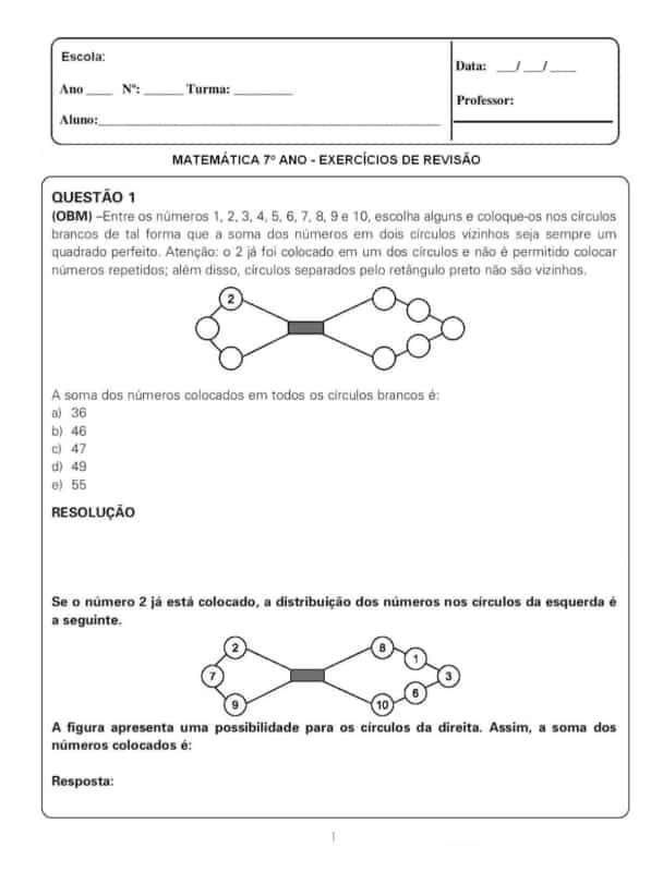 exercicio de matematica com resolucao para 7° ano