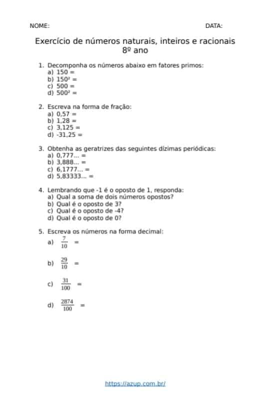 atividade de matematica para alunos do 8° ano