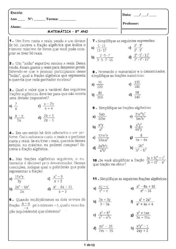 exercicios de matematica para imprimir para 8° ano