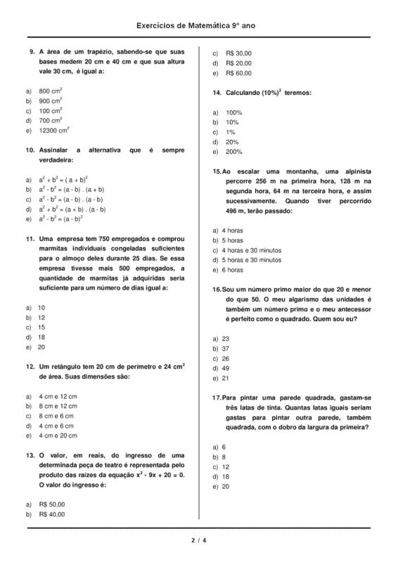 lista de exercicios de matematica para 9° ano