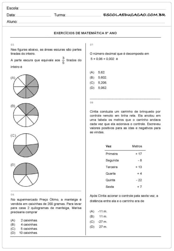 exercicios de matematica para 9° ano