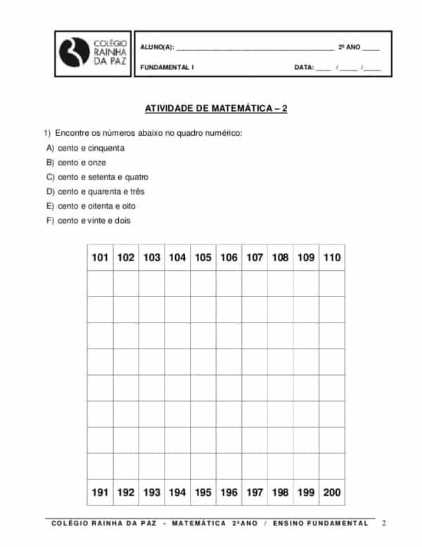 atividade de matematica para 2° ano