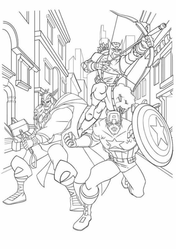 Capitao America Thor e Gaviao Arqueiro