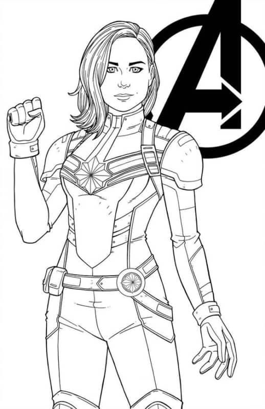 Desenho da Capita Marvel para colorir