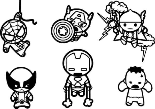 Desenho dos Vingadores chibi para imprimir