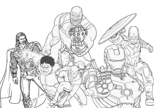 Desenho dos Vingadores e Thanos