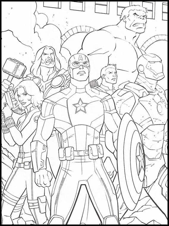 Desenho dos Vingadores para imprimir