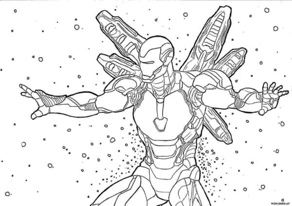 Homem de Ferro para imprimir e colorir