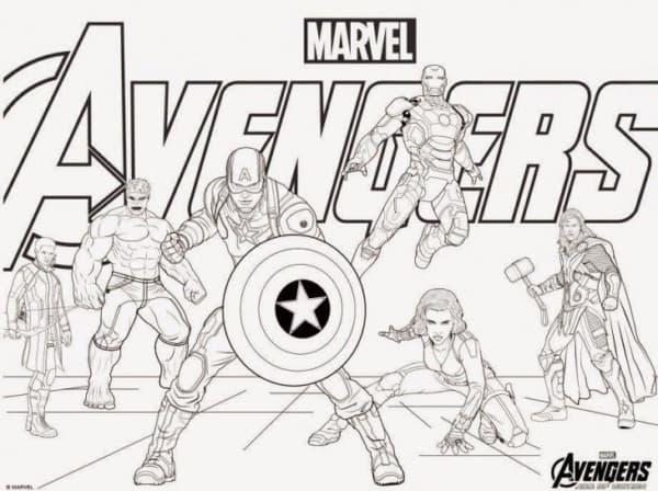 Poster Avengers para colorir