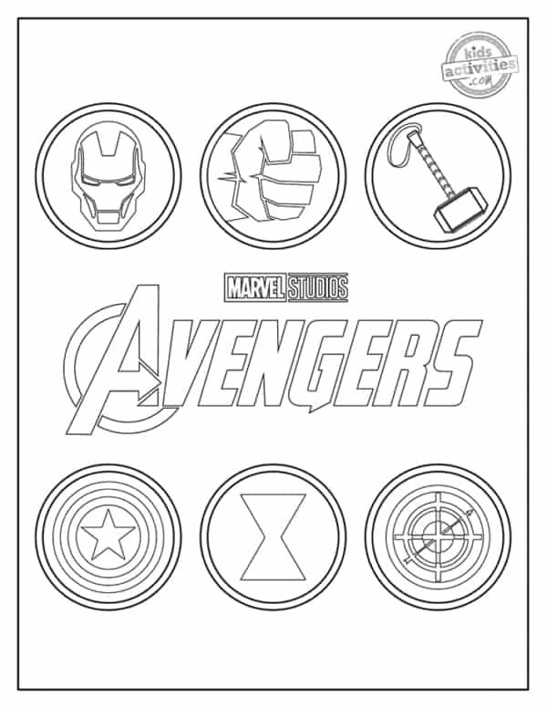 Simbolos dos Vingadores para colorir
