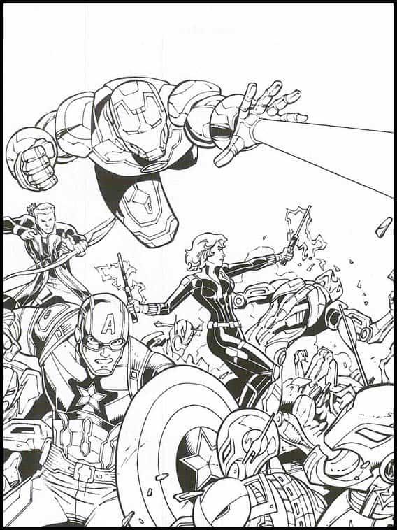 Vingadores contra Thanos para colorir