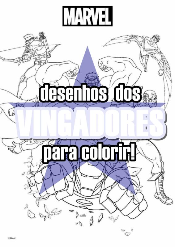 capa do post Vingadores para Colorir