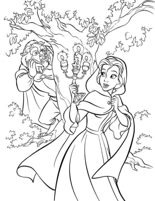 A Bela e a Fera para colorir e imprimir