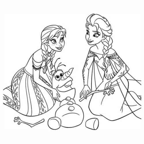Anna e Elsa para colorir