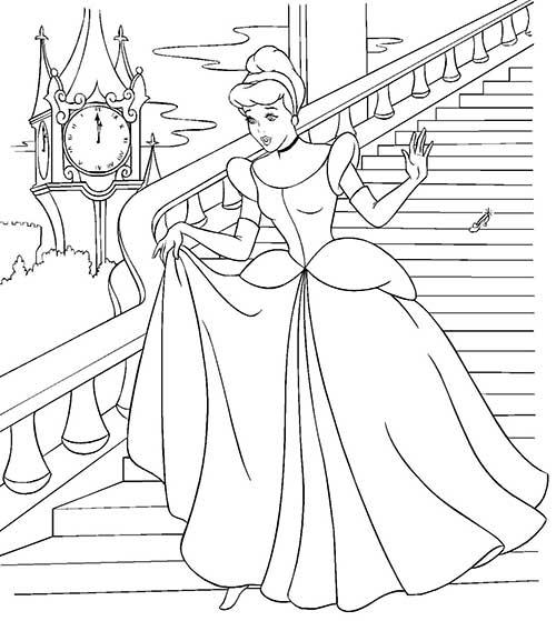 Cinderela deixando seu sapatinho de cristal nas escadas