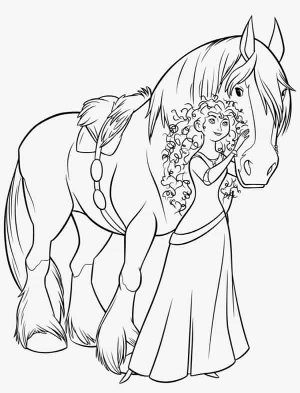 Desenho da Merida e seu cavalo Angus