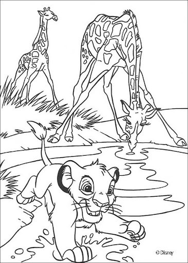 Desenho do Simba brincando na selva