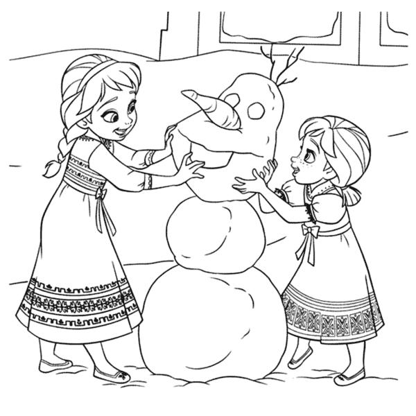 Elsa e Anna criancas para colorir