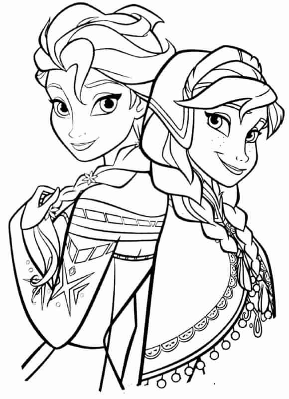 Elsa e Anna para colorir