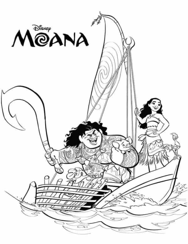 Personagens do filme Moana para colorir