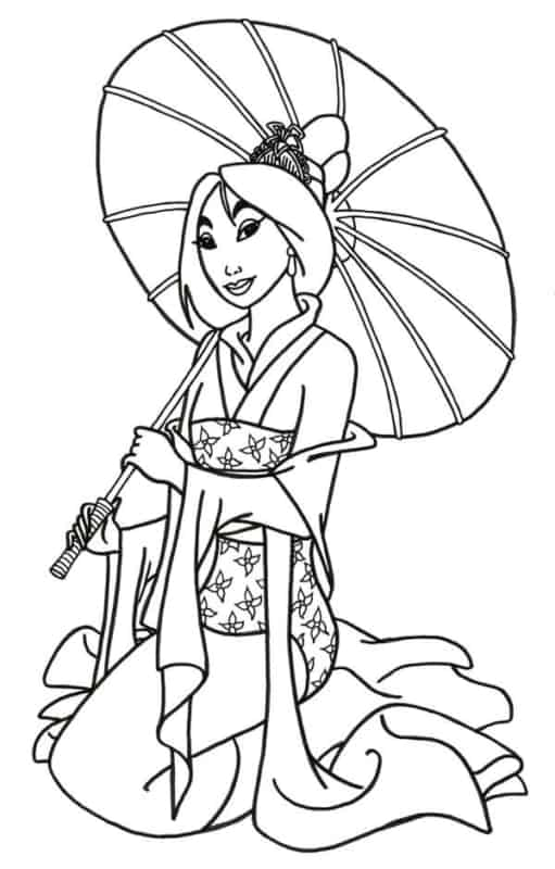 Princesa Mulan para colorir e imprimir